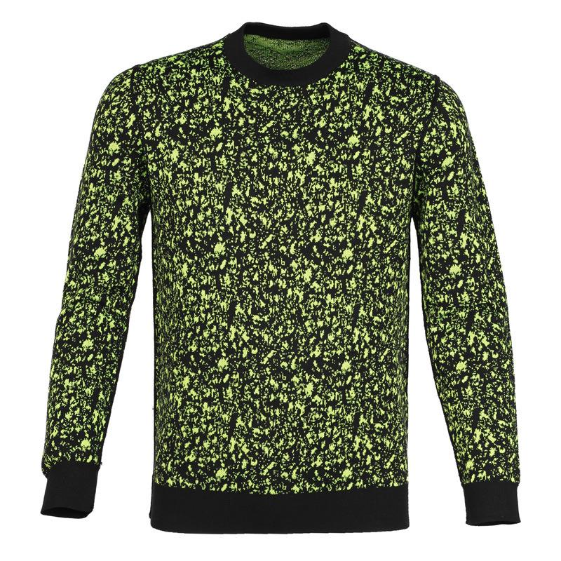 Freeshipping fall 2015 products of high quality custom men's o-neck green floral Wool Sweater