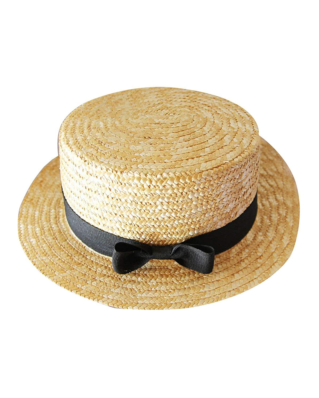 6cd1580a41244a Get Quotations · Erosebridal Women's Natural Straw Boater Hat Flat Top  Summer Beach Sun Hat UPF 50+