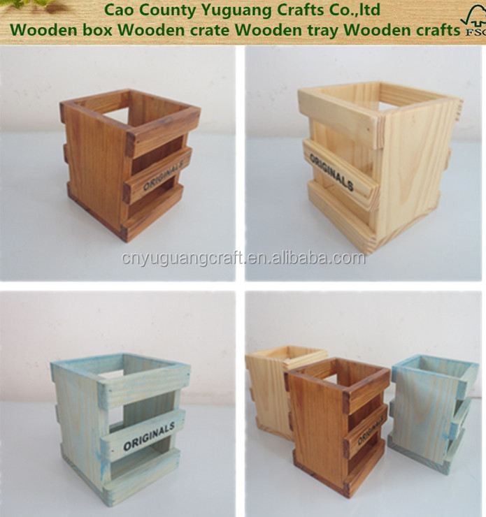 2016 New design Welcome wood material desktop storage box Wooden pen holder Home decoration boxes