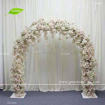 GNW FLWA1707010 White Pink Hanging Cherry Blossom Entrances Wedding Decorative Flower Arch