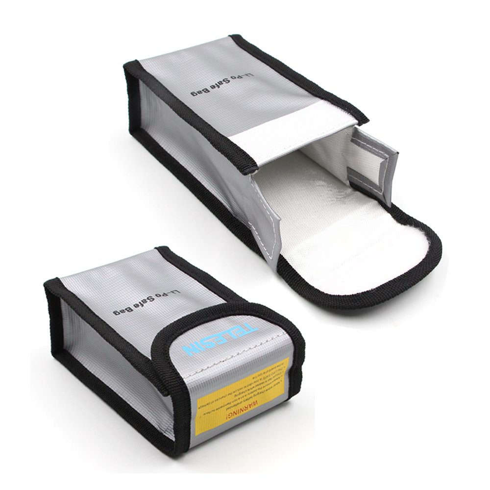 TELESIN Fireproof Explosionproof Lipo Battery Safe Bag Lipo Battery Guard Safe Bag Pouch Sack for DJI Phantom3 4 Charge & Storage (2xLi-Po Safe Bag)