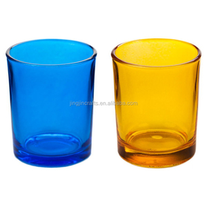 Decorative colored glass candle jars transparent blue yellow black candle holders