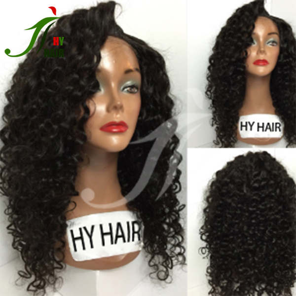 100% human hair glueless silk top lace front wig black women afro kinky indian long hair wig