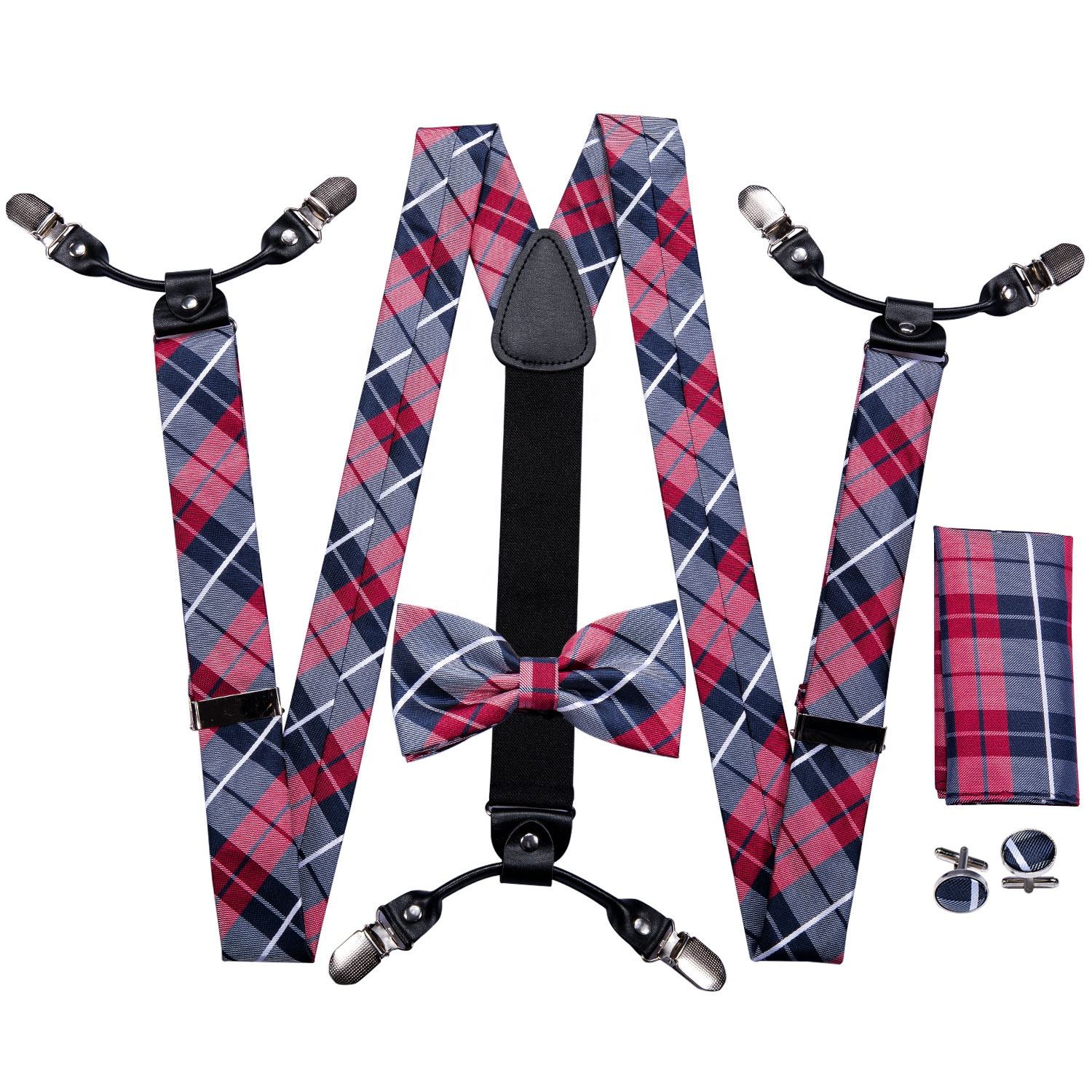 Wholesale Clips Elastic Braces Custom Leather <strong>Men</strong> <strong>Suspenders</strong> and Bow Tie Set