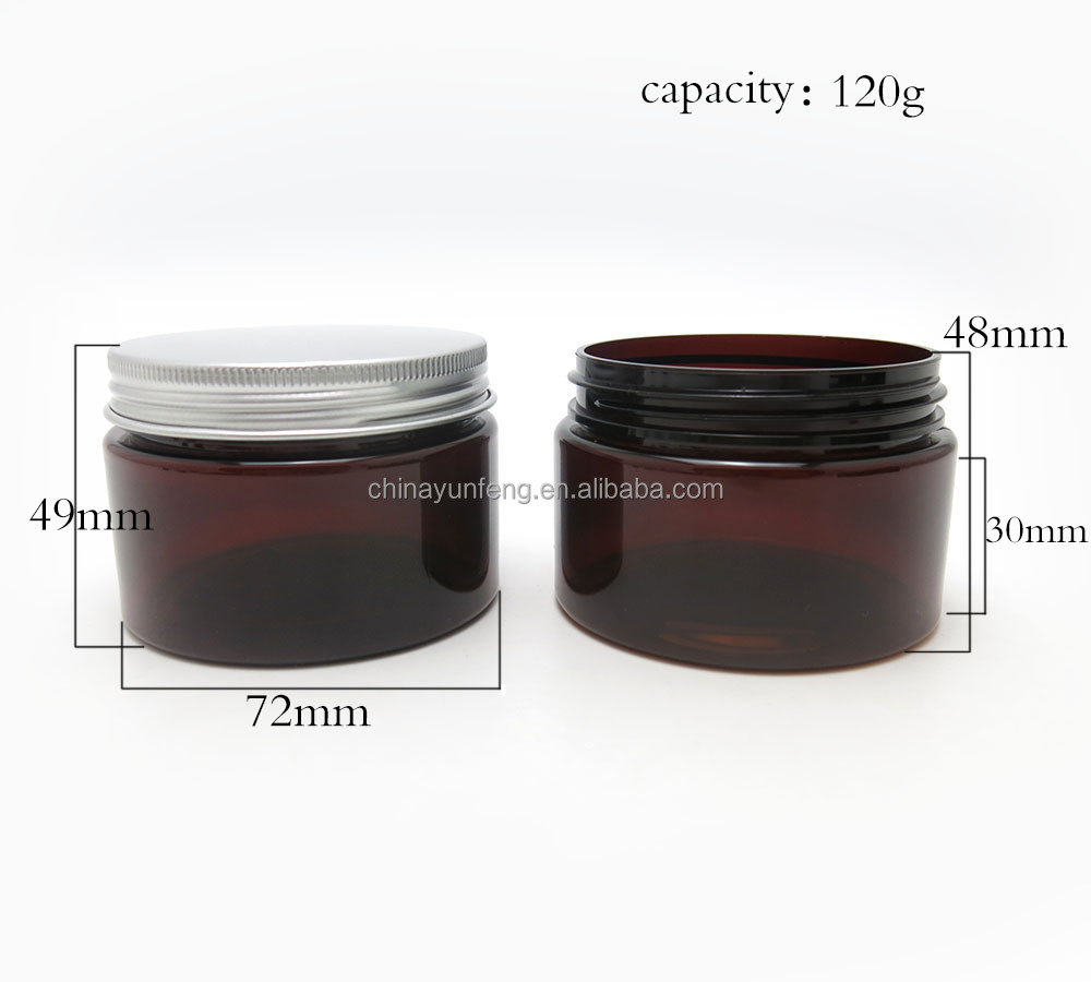 4oz plastic amber cosmetic jars with aluminium screw cap