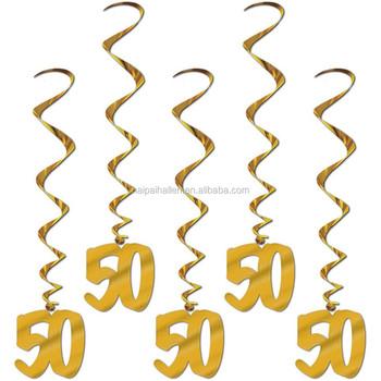 50th birthday golden wedding anniversary party foil hanging swirl