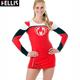 Black And Red Symmetric Swirl Cheer Crop Top Cheerleading Uniforms