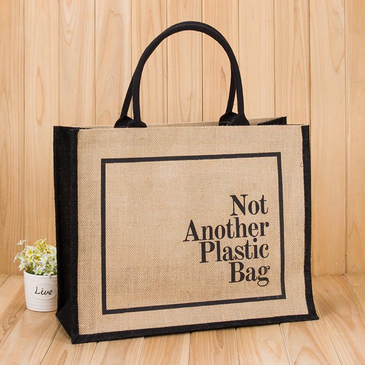 2020 Hot Sale Big Capacity Jute Shopping Bags Advertising Packaging Tote Bag for women