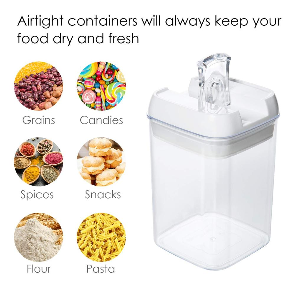 0.5~2.3L Airtight Food Storage Containers,7 Pieces BPA Free Plastic Cereal Containers with Easy Open Lock Lids