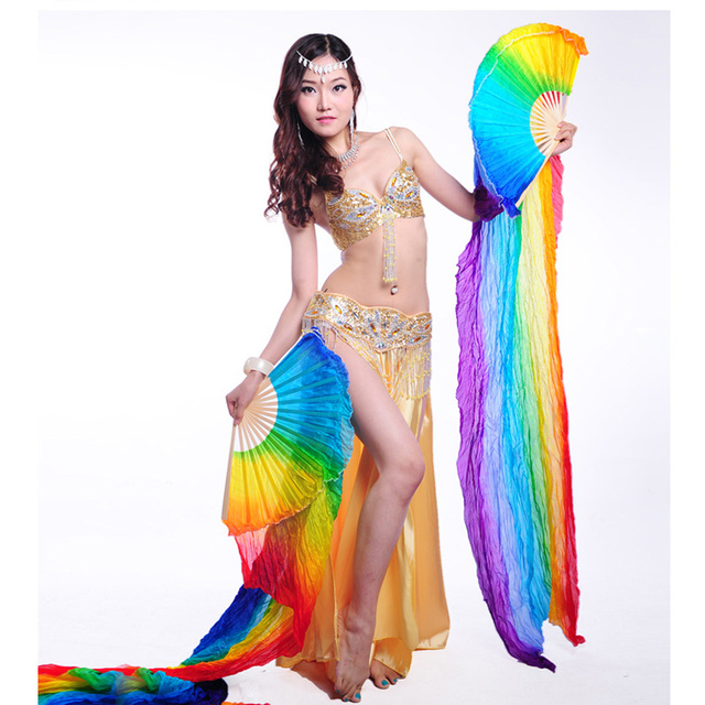 1//2PCS Chinese Handmade Long Veils Fans Belly Dance Silk Bamboo Stage Props WF