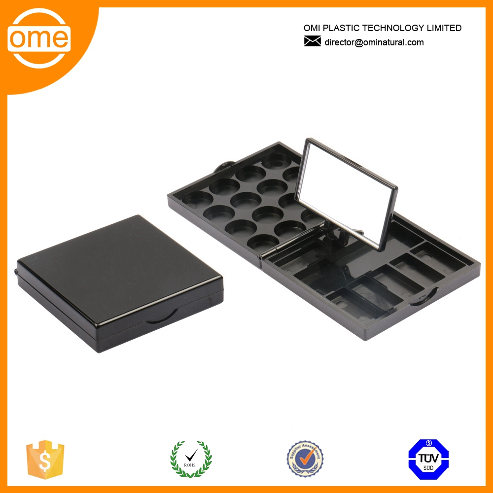 Make you own 20 color new design rectangle cosmetics case eyeshadow palettes with single window standing