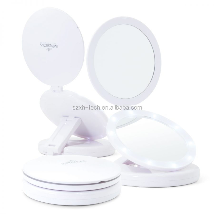 PEARL DUAL TRAVEL LED MAKEUP MIRROR WITH 10X MAGNIFICATION