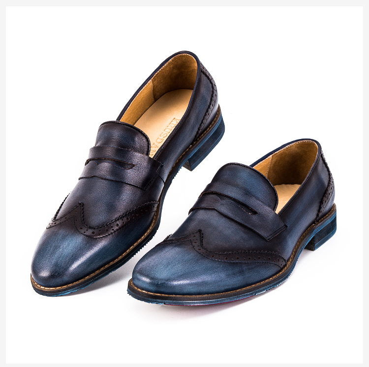 Italian shoes loafers designer casual men in genuine china leather handmade aaZrf0