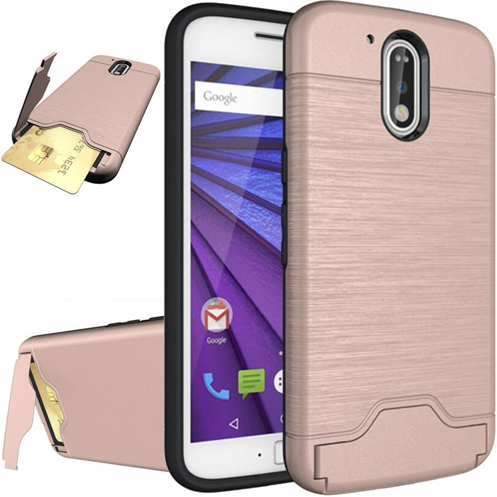 Moto G4 Case,Moto G4 Cover,Flidm Flipcase Moto G4 Protective Card Slot Holder Hybrid Cover with Kickstand for Motorola Moto G 4th Generation-Rose Gold
