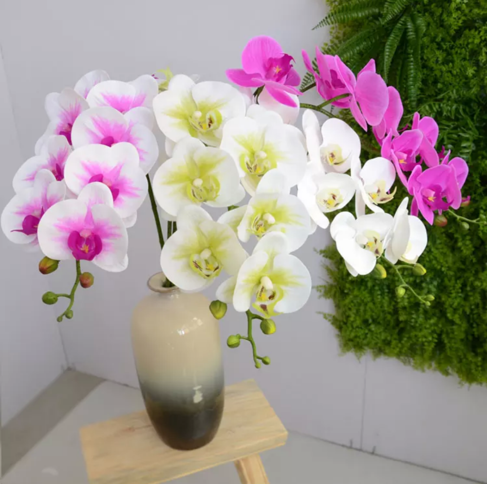 High Quality Pu Artificial Blue Orchid Plants Orchid Flowers In Vase Vanda Orchid For Indoor