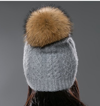 Women Lady Girls Winter Bobble Hat Wool Knit Beanie Cap with Fur Ball Pompom 28b6d2b29d1