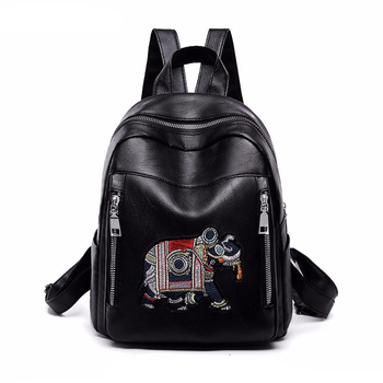 0b0dde5de8c7 Wholesale Fashion Black Embossary Pu School Backpack For Students ...