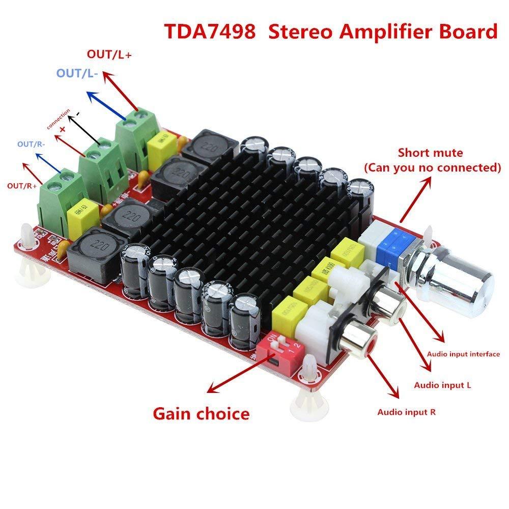 elinke TDA7498 DC 14-34V Amplifier Board of Class D 2X100W Dual Channel Audio Stereo Amplifier Board XH-M510