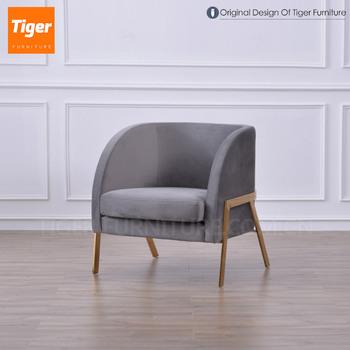 2019 New Design Foshan Blue Velvet Brass Armchair Metal Frame Lounge  Armchair For Living Room