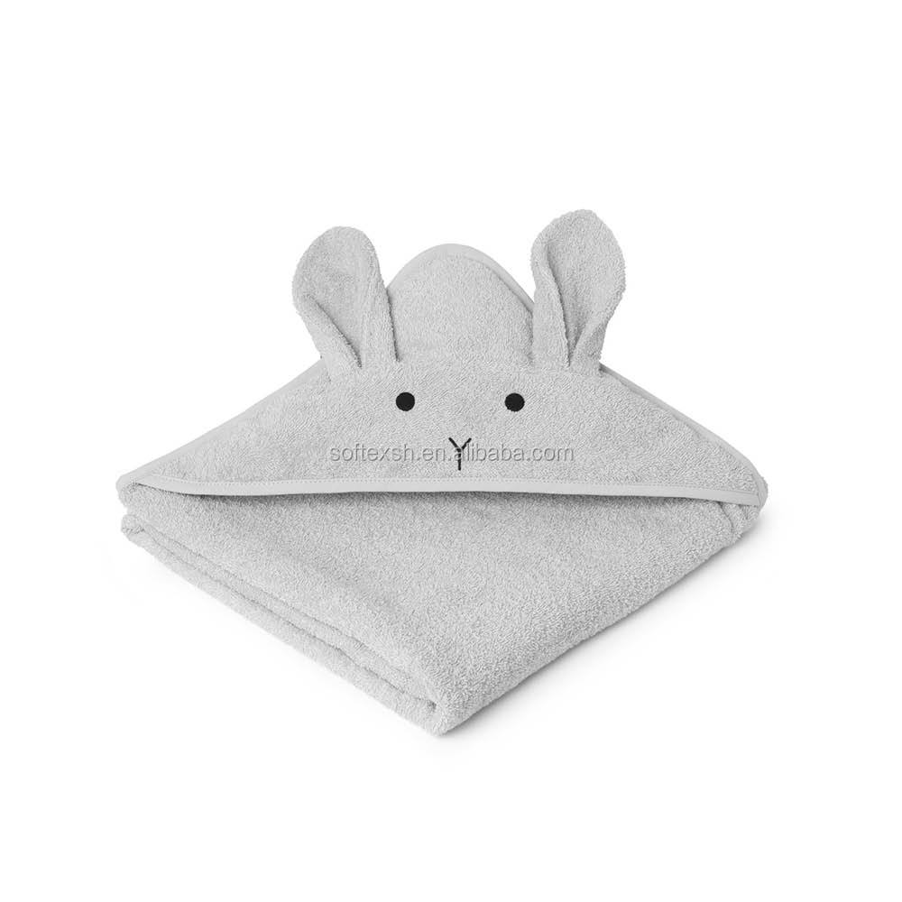 Custom size and package 100% <strong>cotton</strong> or bamboo grey rabbit ear baby towel