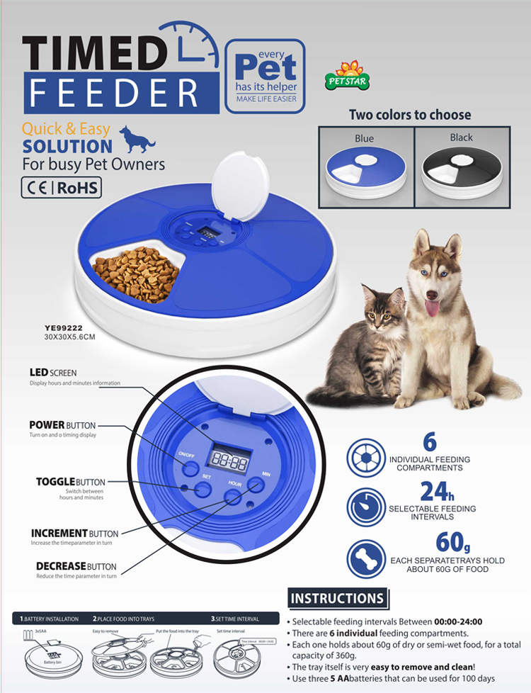 Battery Operated Automatic Pet Dog Cat Food Water Feeder Bowl Timer