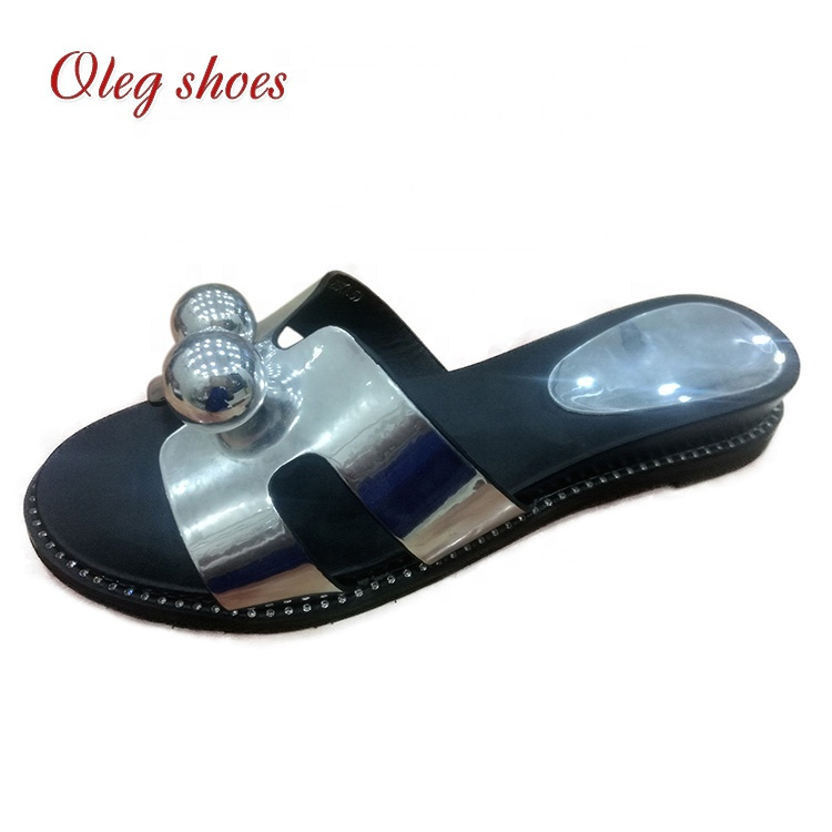 Women Embellished Pearl Flip Flop Wide Band Platform Wedge Slide Sandals <strong>Slippers</strong>