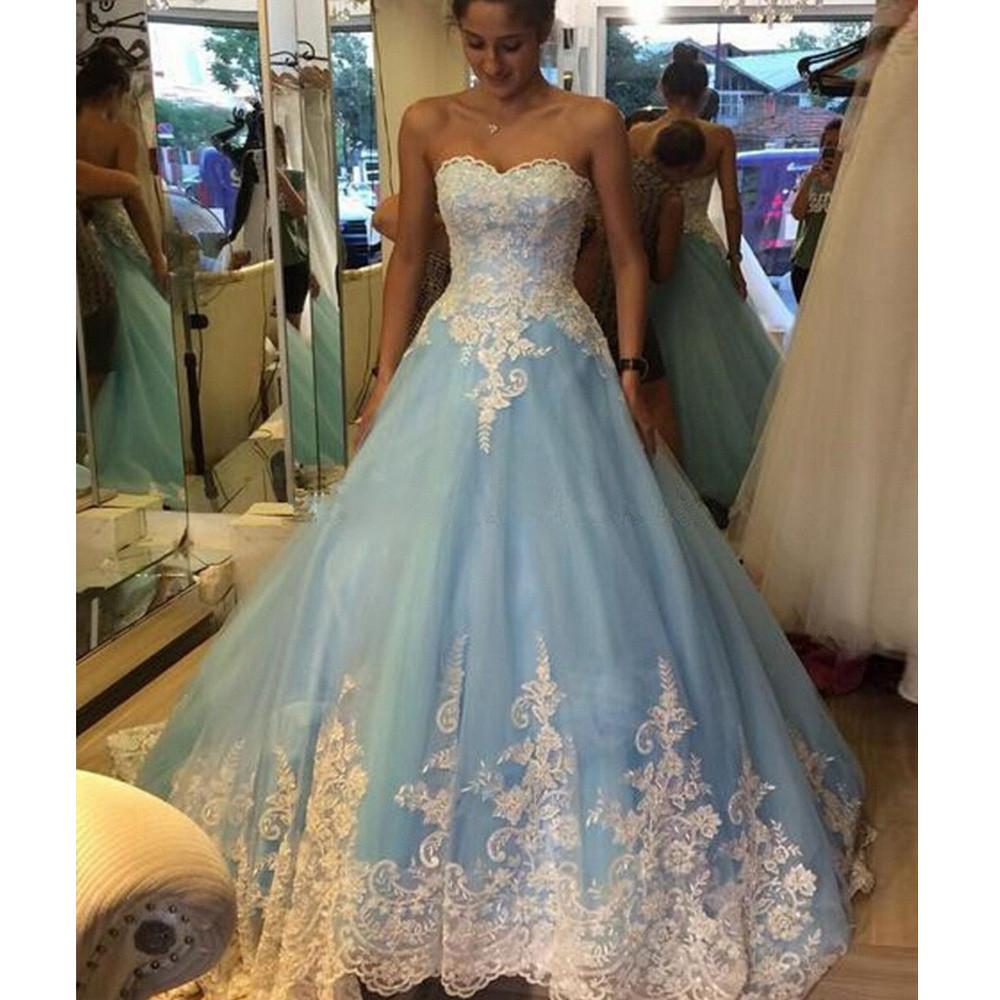 FA13 BOLA DE mariage vestido de boda azul con blanco Appliques más ...