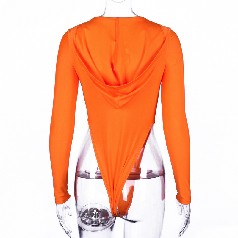Neon Orange Deep V Neck Long Sleeve Bodysuits With Hood Women Sexy Bodycon Tops Cycling Bodysuit Club Rompers
