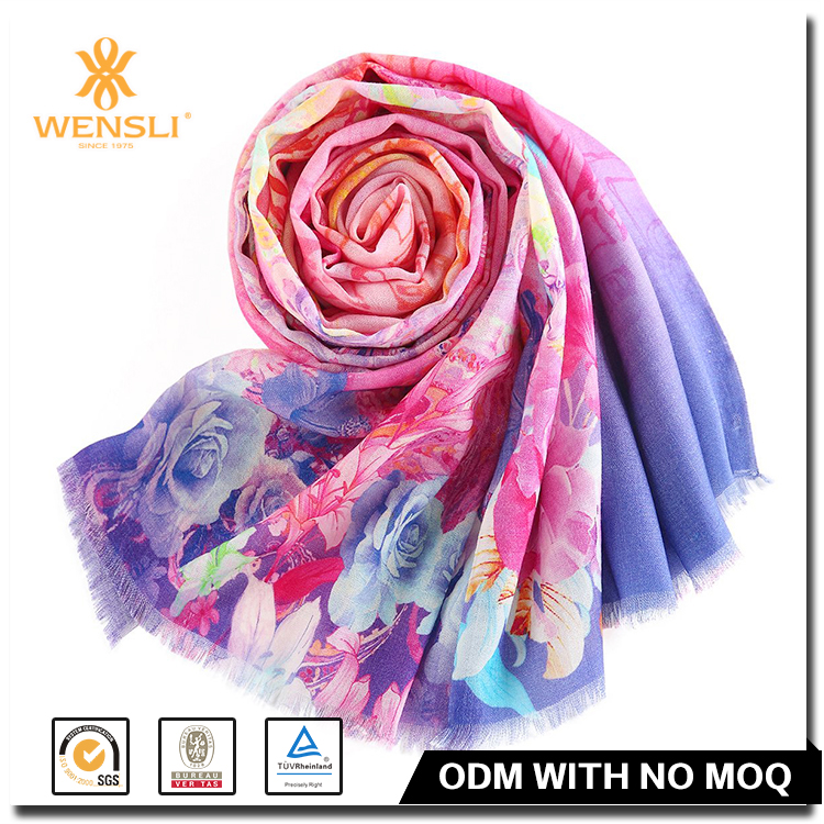 Hangzhou Wensli Factory Printing Thick Custom Wool Shawls And Scarfs