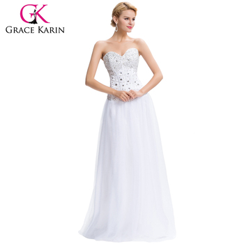 Grace Karin Hot Selling Young Girls White Beaded Long Prom Dress ...