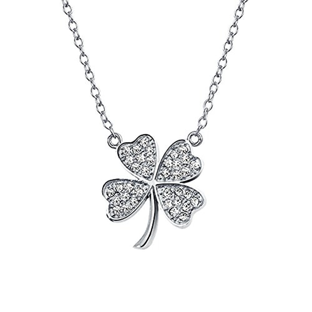 four plated leaf resistant rhodium tarnish m r products clover necklace