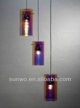 Low and High Three Glass Cover Purple Light Pendant Lighting Chandelier