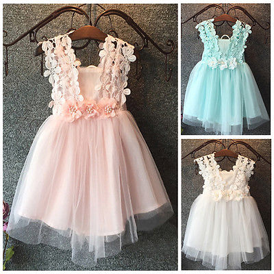 XMAS Baby Beautiful New Girl Princess Party Pearl Lace Tulle Flower Gown font b Fancy b