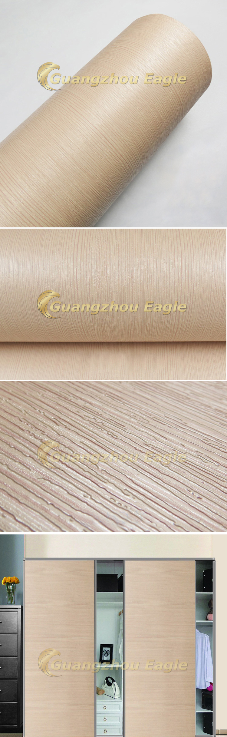 Texture Laminate Kitchen Cabinet Wrap Self Adhesive Wallpaper Wall Paper Furniture Sticker Vinyl Wood Grain PVC Film For Sale