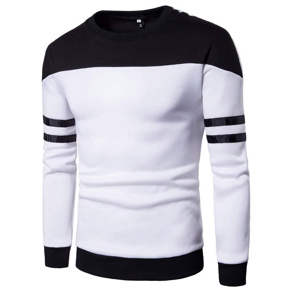2018 Mens Sweater Top Male Long Sleeve Patchwork Sweatshirt Jacket Coat Outwear Zulmaliu