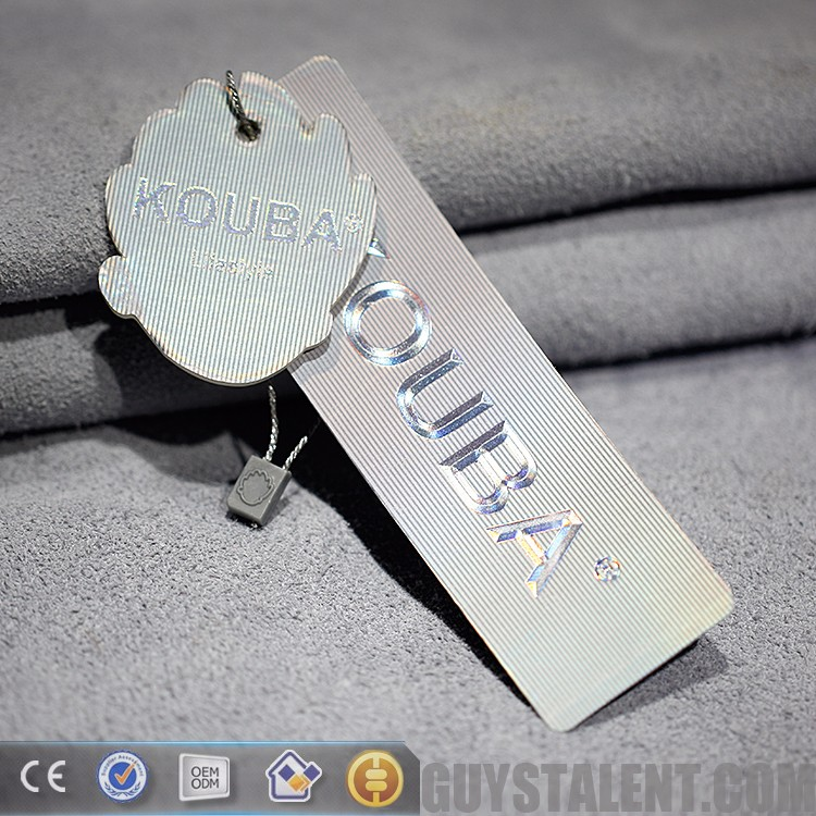 2018 High quality custom hot stamping laser silver sculpture embossed logo hangtag