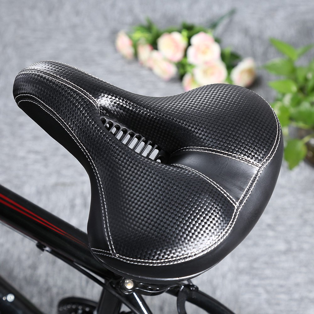 Slip-resistant Bicycle Saddle MTB Bicycle Parts Comfortable Soft Leather Cushion Mat Round Seat Design