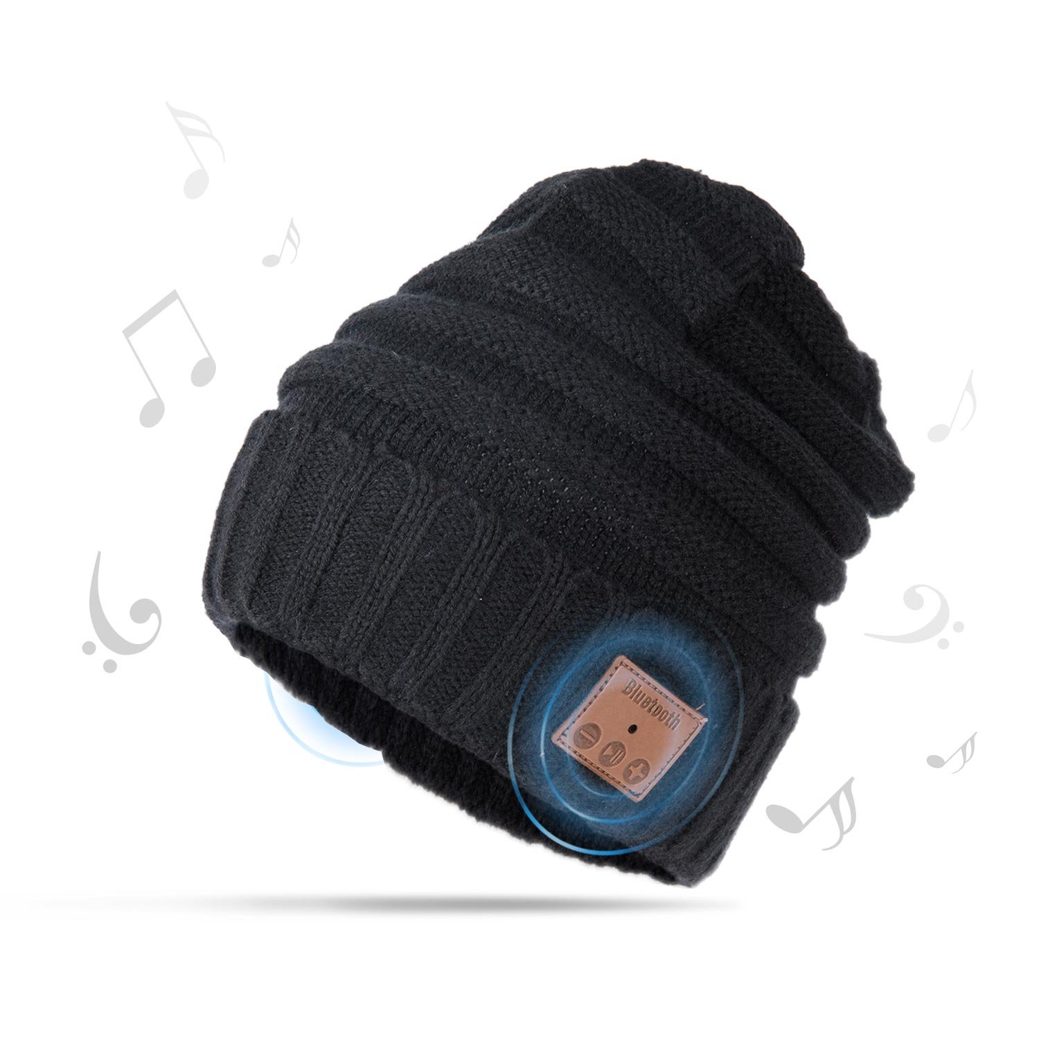 Bluetooth Hat Hands-Free Wireless Speaker Cap for Winter Sports Exercise (Black)