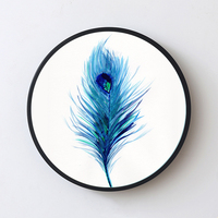 2017 best selling Peacock round wooden floating picture frame