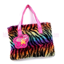 mini plush susen handbag for children rainbow zebra printed pattern