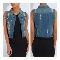 2015 Lattest Ladies Office Wear Embellished Soft Washed Denim Waistcoat NT6143