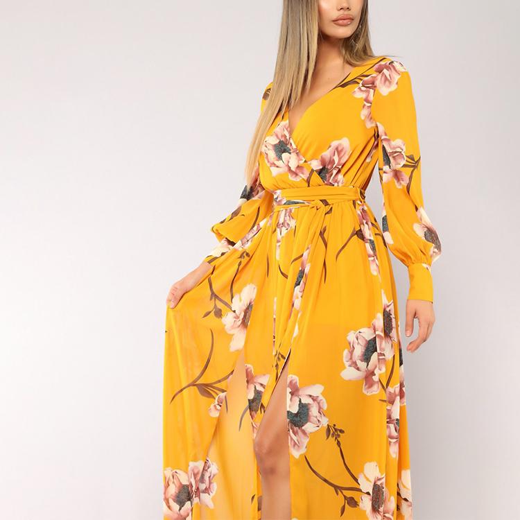 Guangzhou Factory Design Autumn Winter Casual Yellow V Neck Long Sleeve Maxi Dress Women With High Split