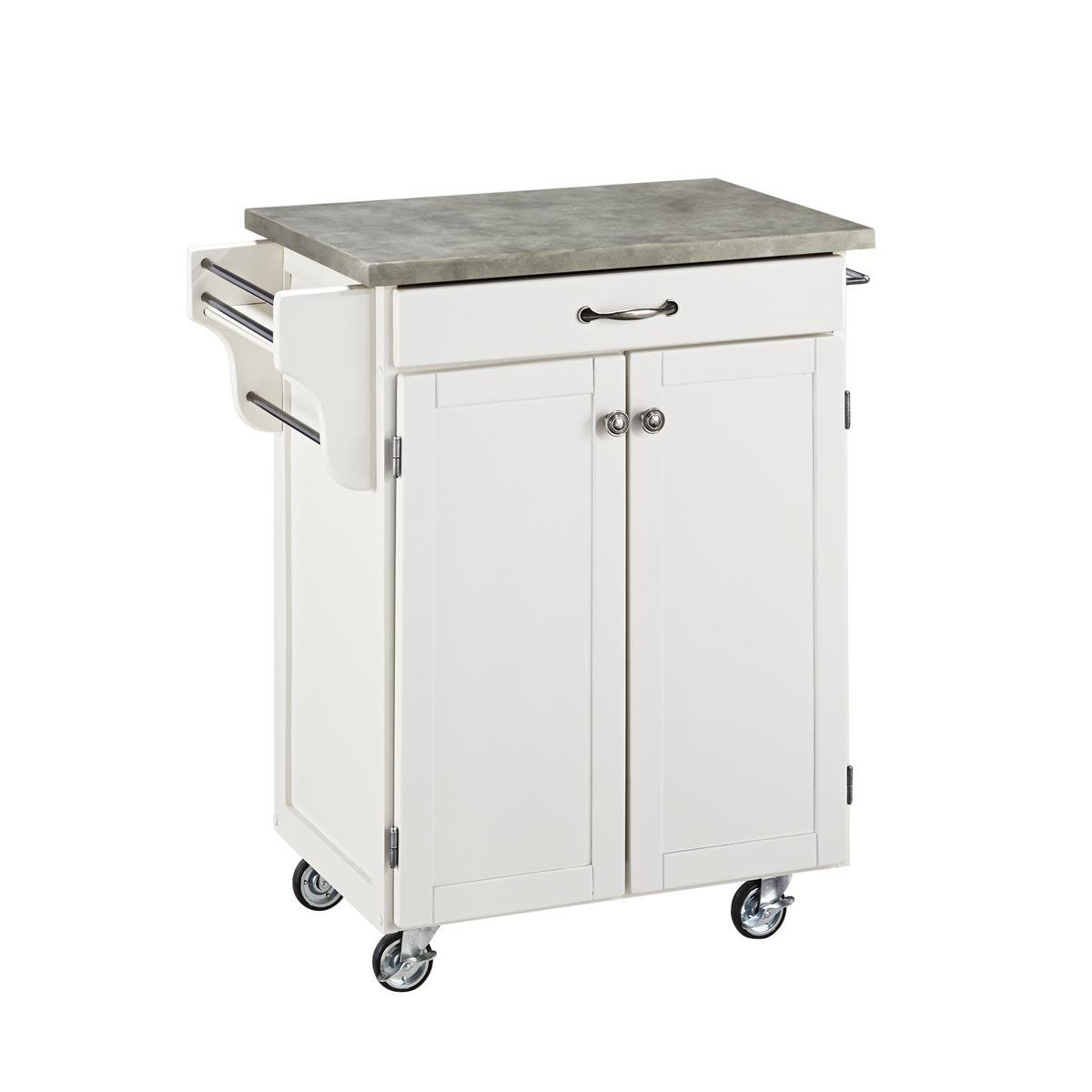 Home Styles Cuisine Cart with Concrete Top, White/Gray