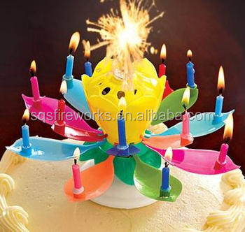 Chinese Hot Sale Lotus Shape Indoor Fireworks Happy Birthday Singing Candle
