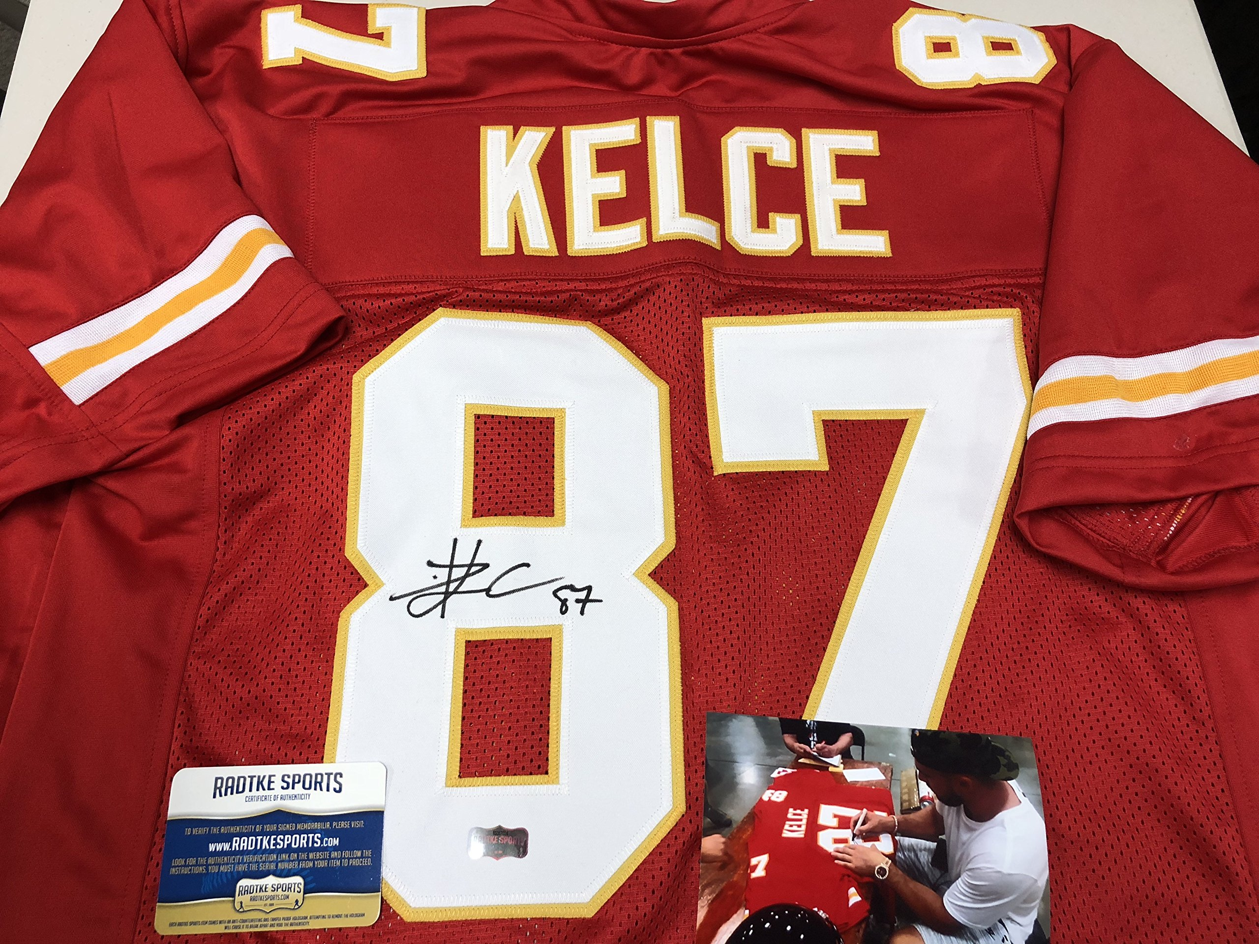Travis Kelce Autographed Signed Kansas City Chiefs Custom Jersey Certified  Authentic COA W Photo From d94f3e420