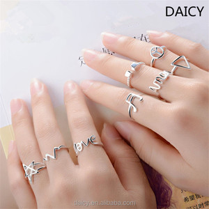 DAICY wholesale cheap fashion white gold love letter star Joint midi ring set