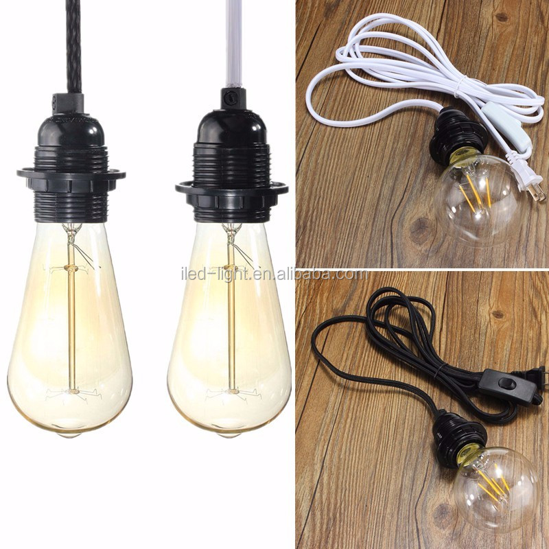 US Plug Switch 2.5M Cord E27 E26 Vintage Edison Pendant Screw Light Bulb Lamp Holder Socket