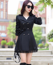 2014 Autumn New Trench Coat With Belt Women Mid Long Style Double Breasted Lace Patchwork Coats Loose Outerwear Plus Size C8019