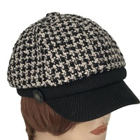 New Style Leisure 6 Panel Wool Tweed Winter Caps Hats Black Bakerboy Caps For Ladies