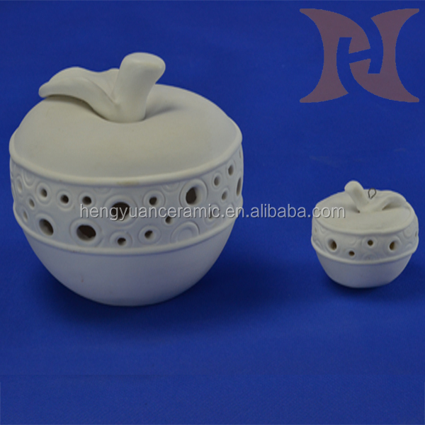 Ceramic half a hollow out white apple shape fruit decorations